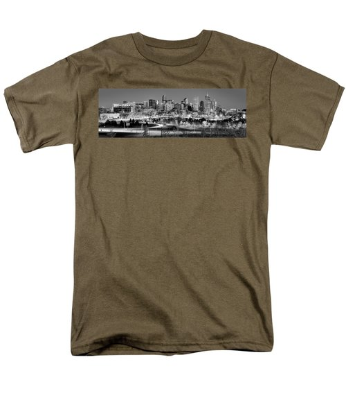 Men's T-Shirt  (Regular Fit) featuring the photograph Denver Skyline At Dusk Evening Bw Black And White Evening Panorama Broncos Colorado  by Jon Holiday
