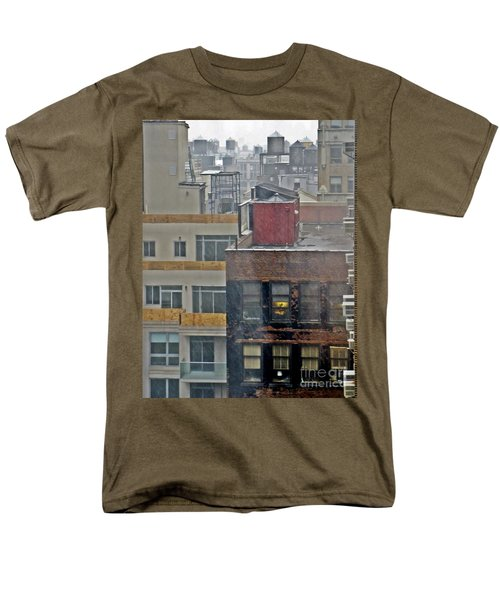 Men's T-Shirt  (Regular Fit) featuring the photograph Desk Lamp Through Lit Window by Lilliana Mendez