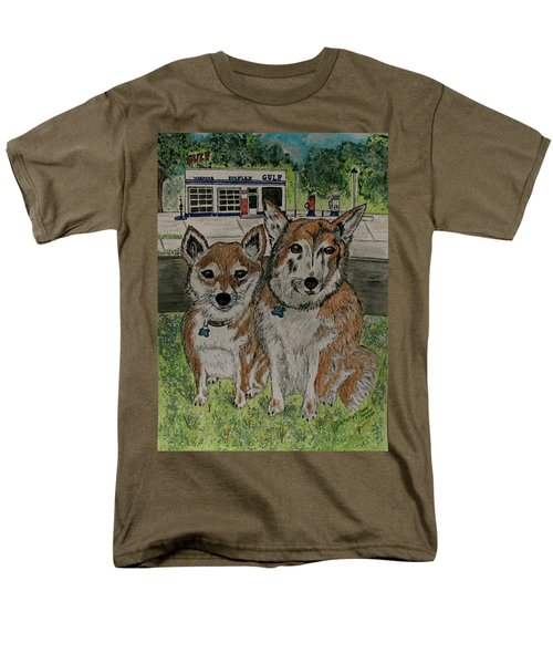 Men's T-Shirt  (Regular Fit) featuring the painting Dogs In Front Of The Gulf Station by Kathy Marrs Chandler