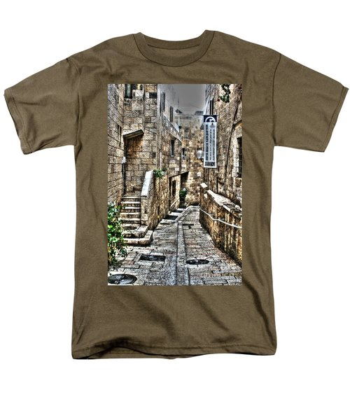 Men's T-Shirt  (Regular Fit) featuring the photograph Downtown In Jerusalems Old City by Doc Braham