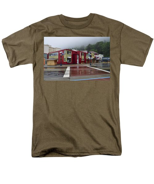 Men's T-Shirt  (Regular Fit) featuring the photograph Downtown Juneau On A Rainy Day by Cathy Mahnke
