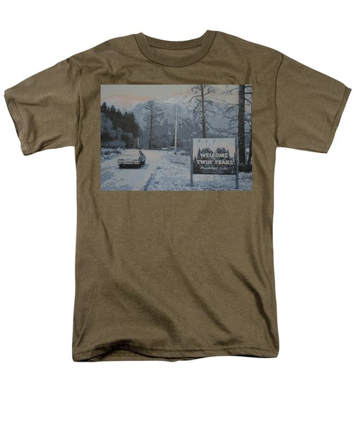 Men's T-Shirt  (Regular Fit) featuring the painting Entering The Town Of Twin Peaks 5 Miles South Of The Canadian Border by Luis Ludzska