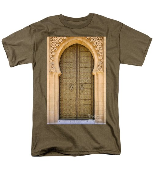 Men's T-Shirt  (Regular Fit) featuring the photograph Entrance Door To The Mausoleum Mohammed V Rabat Morocco by Ralph A  Ledergerber-Photography
