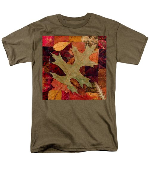 Men's T-Shirt  (Regular Fit) featuring the mixed media Fall Leaf Collage by Anna Ruzsan