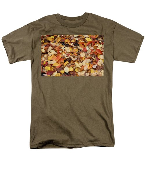 Men's T-Shirt  (Regular Fit) featuring the photograph Fallen Leaves by Dora Sofia Caputo Photographic Art and Design