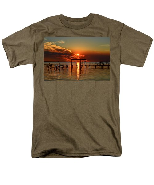 Fiery Sunset Colors Over Santa Rosa Sound Men's T-Shirt  (Regular Fit) by Jeff at JSJ Photography
