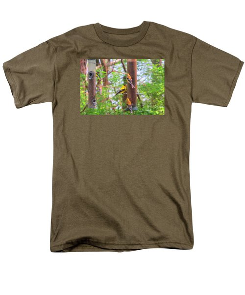Men's T-Shirt  (Regular Fit) featuring the photograph Finches Enjoying Their Snack by Tina M Wenger