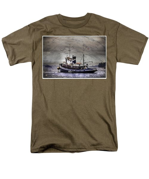 Men's T-Shirt  (Regular Fit) featuring the mixed media Fishing Boat by Peter v Quenter