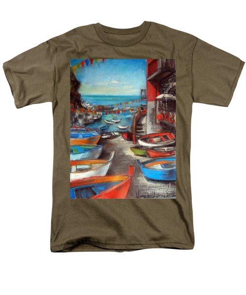 Fishing Boats In Riomaggiore Men's T-Shirt  (Regular Fit)