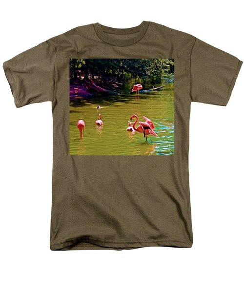 Flamingo Party Men's T-Shirt  (Regular Fit) by Luther Fine Art