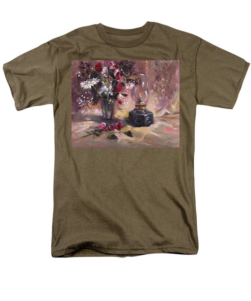 Men's T-Shirt  (Regular Fit) featuring the painting Flowers With Lantern by Nancy Griswold