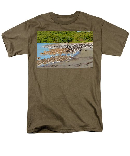 Men's T-Shirt  (Regular Fit) featuring the photograph Four Species Of Birds At Roost On Tampa Bay Beach by Jeff at JSJ Photography