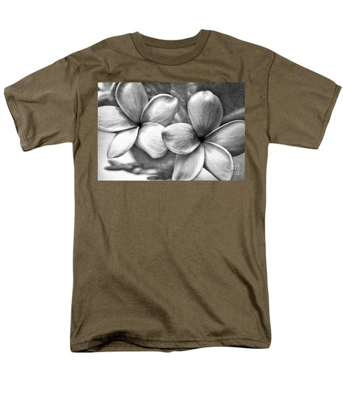 Men's T-Shirt  (Regular Fit) featuring the photograph Frangipani In Black And White by Peggy Hughes