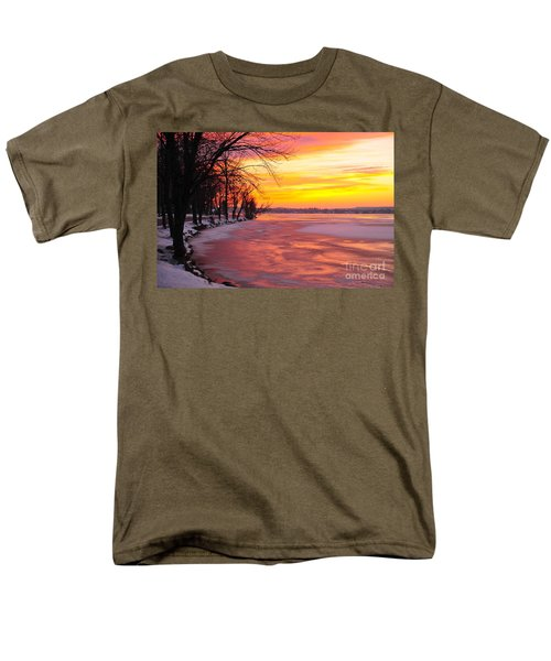 Men's T-Shirt  (Regular Fit) featuring the photograph Frozen Dawn At Lake Cadillac  by Terri Gostola
