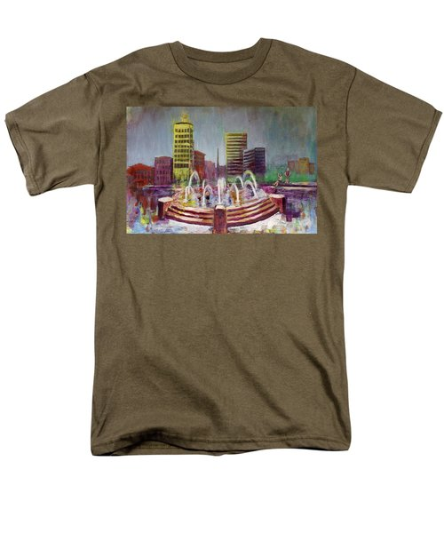 Fun In The Fountain In Asheville Men's T-Shirt  (Regular Fit) by Gray  Artus