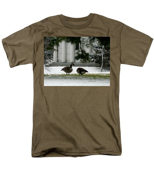 Men's T-Shirt  (Regular Fit) featuring the photograph Geese In Snow by Kathy Barney