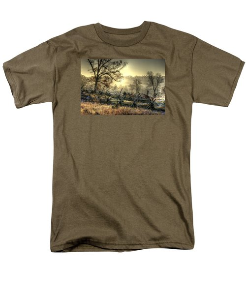 Men's T-Shirt  (Regular Fit) featuring the photograph Gettysburg At Rest - Sunrise Over Northern Portion Of Little Round Top by Michael Mazaika