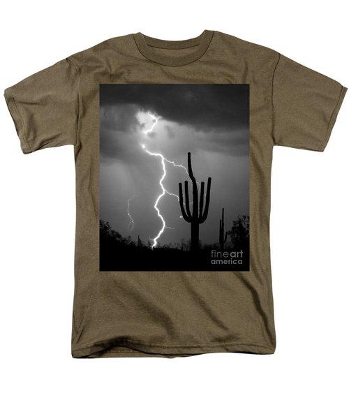 Giant Saguaro Cactus Lightning Strike Bw Men's T-Shirt  (Regular Fit)