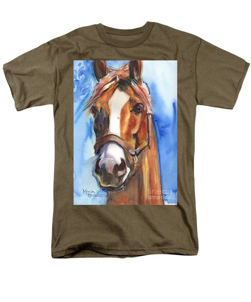 Horse Painting Of California Chrome Go Chrome Men's T-Shirt  (Regular Fit) by Maria's Watercolor
