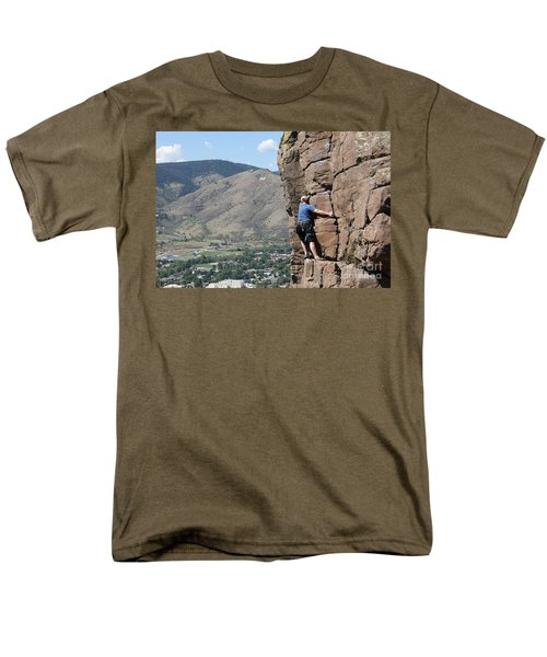 Men's T-Shirt  (Regular Fit) featuring the pyrography Golden Climbing by Chris Thomas