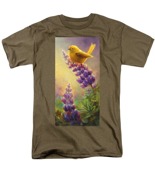 Golden Light 2 Wilsons Warbler And Lupine Men's T-Shirt  (Regular Fit) by Karen Whitworth
