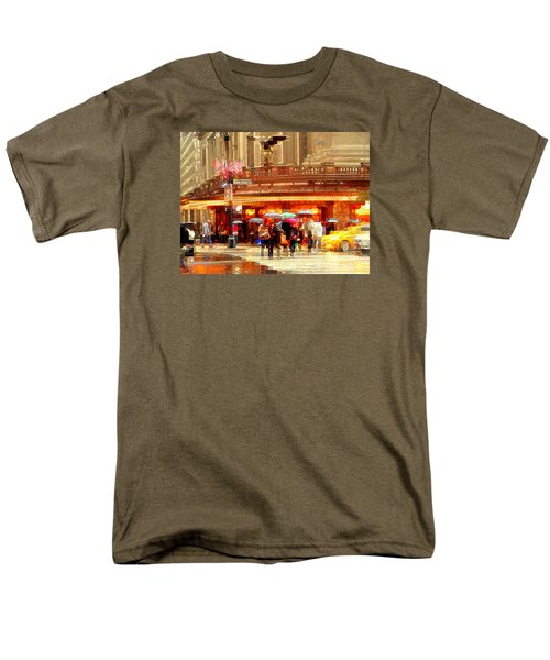 Grand Central Station In The Rain - New York Men's T-Shirt  (Regular Fit) by Miriam Danar