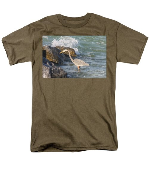 Great Blue Heron On The Prey Men's T-Shirt  (Regular Fit) by Christiane Schulze Art And Photography