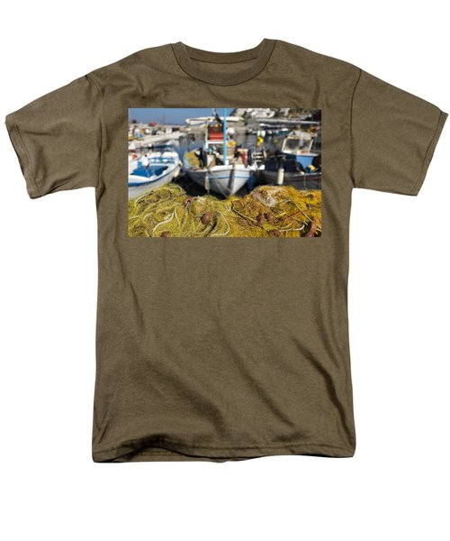 Greek Fishing Harbour Men's T-Shirt  (Regular Fit) by Mike Santis
