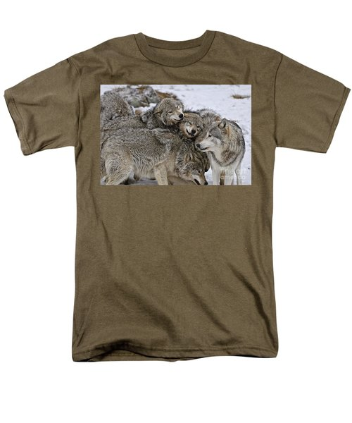 Men's T-Shirt  (Regular Fit) featuring the photograph Happy Wolf Pack by Wolves Only