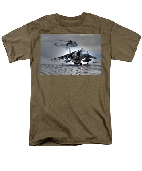 Harrier Gr9 Takes Off From Hms Ark Royal For The Very Last Time Men's T-Shirt  (Regular Fit) by Paul Fearn