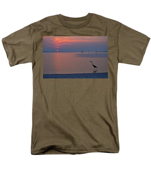 Men's T-Shirt  (Regular Fit) featuring the photograph Harry The Heron Fishing On Santa Rosa Sound At Sunrise by Jeff at JSJ Photography