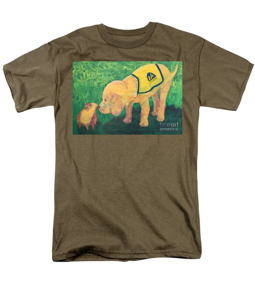 Men's T-Shirt  (Regular Fit) featuring the painting Hello - Cci Puppy Series by Donald J Ryker III