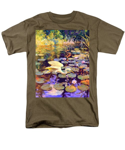 Men's T-Shirt  (Regular Fit) featuring the painting Heron In Lily Pond by David  Van Hulst