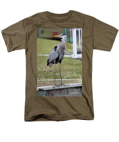 Heron On The Edge Men's T-Shirt  (Regular Fit) by Debbie Hart
