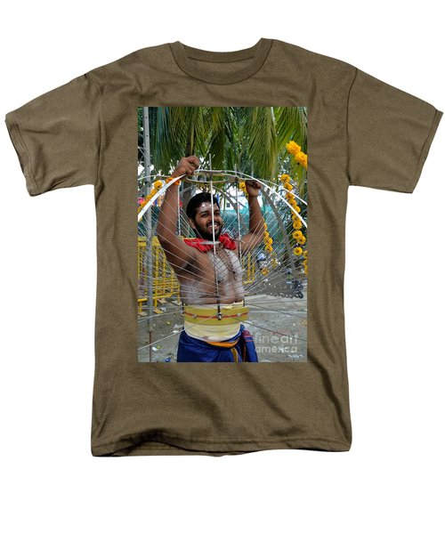 Men's T-Shirt  (Regular Fit) featuring the photograph Hindu Thaipusam Festival Pierced Devotee  by Imran Ahmed