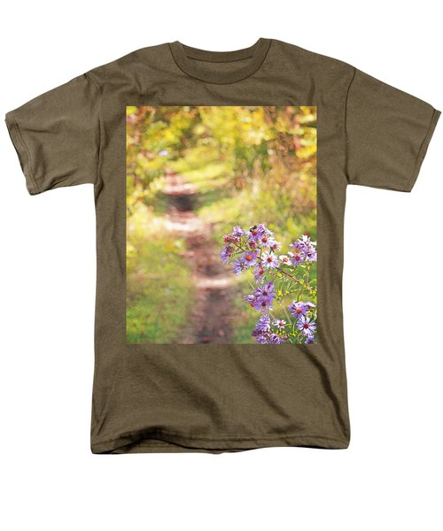Men's T-Shirt  (Regular Fit) featuring the photograph Honey Bee On Purple Aster by Brooke T Ryan