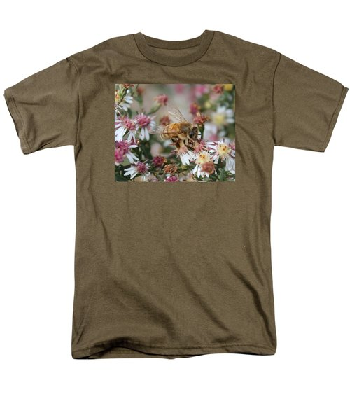 Honeybee Sipping Nectar On Wild Aster Men's T-Shirt  (Regular Fit) by Lucinda VanVleck