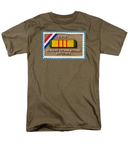 Honoring Vietnam Veterans Service Medal Postage Stamp Men's T-Shirt  (Regular Fit) by Phil Cardamone