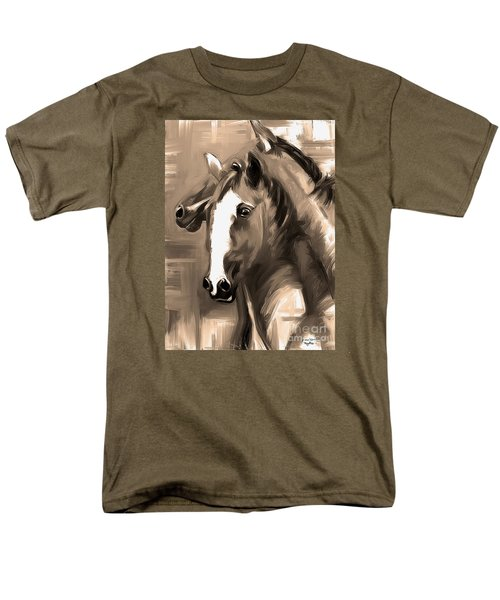 Men's T-Shirt  (Regular Fit) featuring the painting Horse Together 1 Sepia by Go Van Kampen