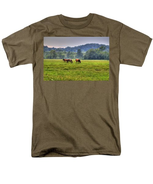Men's T-Shirt  (Regular Fit) featuring the photograph Horses In A Field 2 by Jonny D