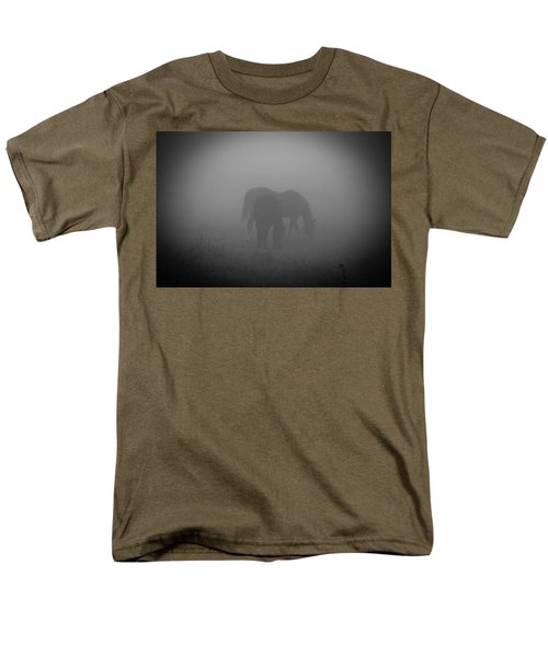 Men's T-Shirt  (Regular Fit) featuring the photograph Horses In The Mist. by Cheryl Baxter