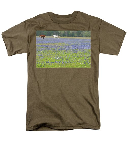 Horses Running In Field Of Bluebonnets Men's T-Shirt  (Regular Fit) by Connie Fox