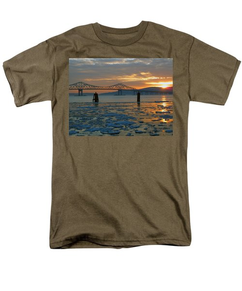 Hudson River Icey Sunset Men's T-Shirt  (Regular Fit) by Jeffrey Friedkin
