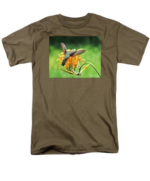 Men's T-Shirt  (Regular Fit) featuring the photograph Hummingbird At Lunchtime by David Perry Lawrence