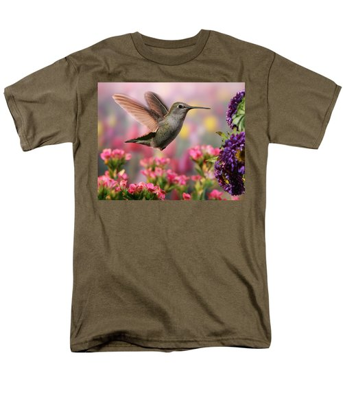 Hummingbird In Colorful Garden Men's T-Shirt  (Regular Fit) by William Lee