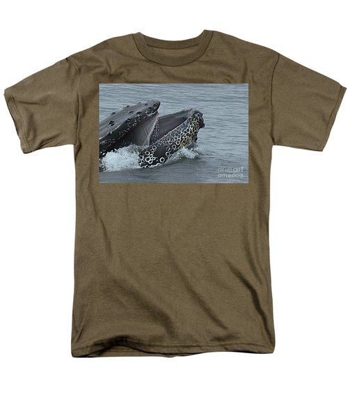 Men's T-Shirt  (Regular Fit) featuring the photograph Humpback Whale  Lunge Feeding 2013 In Monterey Bay by California Views Mr Pat Hathaway Archives