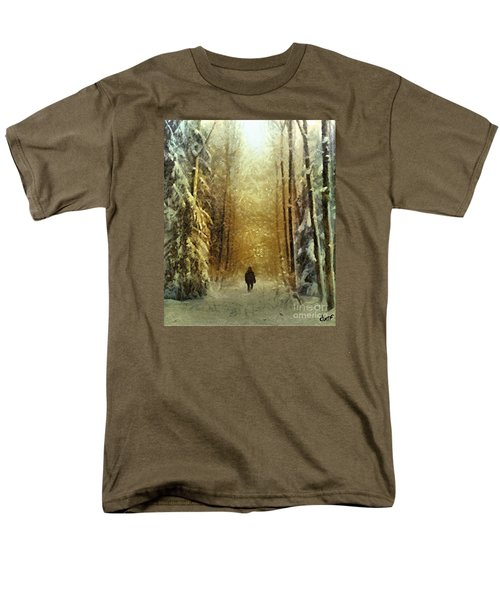 Men's T-Shirt  (Regular Fit) featuring the painting I'll Be Home For Christmas by Dragica  Micki Fortuna
