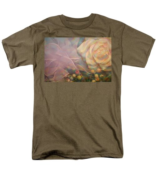 Men's T-Shirt  (Regular Fit) featuring the photograph Impressionistic Pink Rose With Ribbon by Dora Sofia Caputo Photographic Art and Design