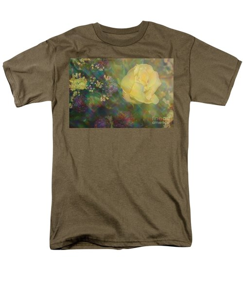 Men's T-Shirt  (Regular Fit) featuring the photograph Impressionistic Yellow Rose by Dora Sofia Caputo Photographic Art and Design