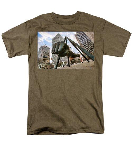 In Your Face -  Joe Louis Fist Statue - Detroit Michigan Men's T-Shirt  (Regular Fit) by Gordon Dean II